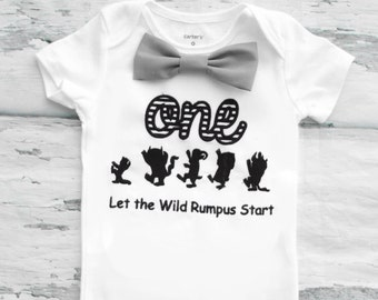 Baby boy first birthday Where the wild things are Let the wild rumpus start  boy one year outfit first birthday grey bow tie boy birthday