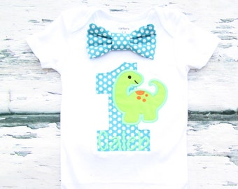 Baby boy first birthday Baby Dinosaur themed cake smash outfit boy little Dino 1st birthday one year bow tie onesie  boy birthday shirt