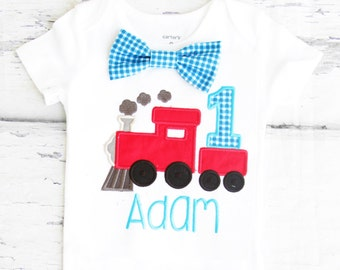 Baby boy first birthday Train themed cake smash outfit boy train 1st birthday one year bow tie onesie birthday shirt choo choo train
