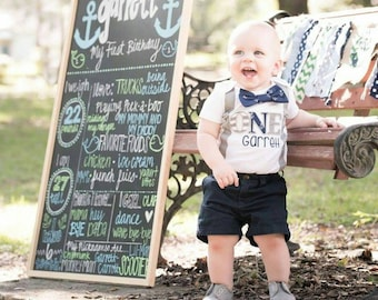 Baby Boy ONE year cake smash nautical theme with suspenders Baby boy first birthday Baby boy navy nautical cake smash outfit