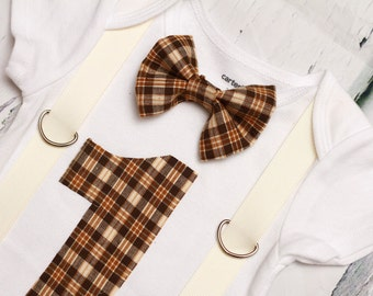 Brown Plaid Boy bow tie, Suspenders, Bow tie Number 1, Boy First Birthday, Boy Cake Smash Outfit, Boy 1st Birthday, Brown Plaid Bow tie set