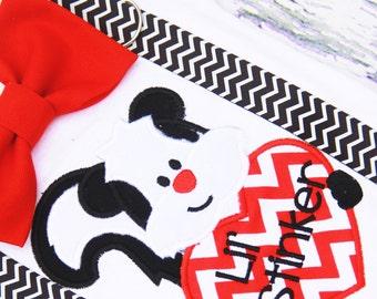 Little Stinker baby boy Valentine's onesie with matching chevron suspenders and bow tie, Baby boy Valentine's Skunk Shirt