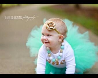 First birthday Girl Cake Smash mint green Tutu Gold Number One Onesie headband Girl Cake Smash Tutu Girl 1st Birthday Girl Year Outfit