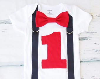 Boy First birthday red first birthday navy suspenders with red bow tie Baby boy red and navy first birthday red cake smash outfit boy one