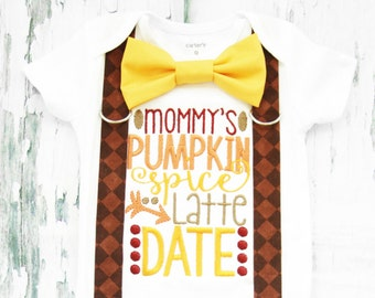 Mommy's Pumpkin Spice Latte Date, Baby Boy my first Thanksgiving, Bow tie and Suspender set, Fall Baby Boy Onesie, Boy Holiday Onesie