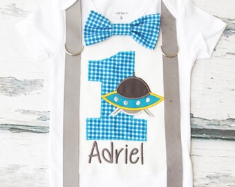 Boy first birthday Spaceship themed bow tie & Suspenders Bow tie blue First Birthday space shuttle Boy Cake Smash Outfit Boy 1st Birthday