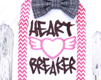 Heart Breaker baby boy Valentine's onesie with matching pink chevron suspenders and bow tie, customizable