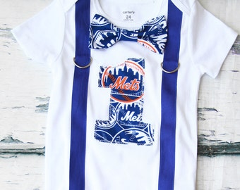 Baby Boy first birthday New York Mets Baseball themed Cake smash outfit Boy one year Mets onesie boy first birthday boy  navy blue