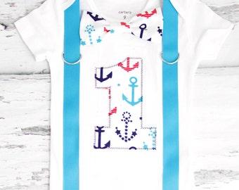 Baby boy first birthday Nautical Theme Bow tie Suspenders Boy Cake Smash Boy first year Boy number 1 Boy first birthday Boy Sailing