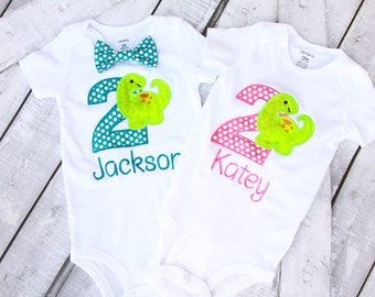 Twin Girl Boy Baby Dinosaurs Cake Smash Outfit Pink polka dot Teal polka dot dino Matching Twins Outfit Gift for Twins second birthday