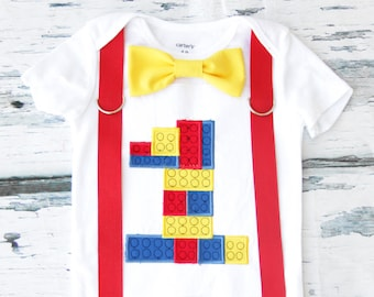 Boy first birthday lego themed bow tie & Suspenders set Bow tie Number 1 Boy First Birthday Boy blocks Cake Smash Outfit Boy 1st Birthday
