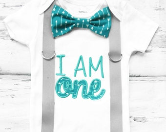 Baby boy Teal arrow first birthday onesie Aqua arrow I am ONE boy one year outfit grey suspender bow tie arrow boy birthday