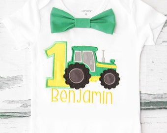 Baby boy first birthday green tractor themed cake smash outfit boy yellow tractor 1st birthday one year bow tie onesie birthday shirt
