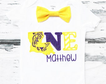 Baby boy LSU Tigers birthday onesie Louisiana State University themed boy one year outfit baby Geaux Tigers one  bow tie boy birthday