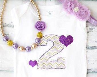 Girl second birthday Cake Smash purple Gold Number 2 Onesie gold rose necklace Girl Cake Smash Girl 2nd Birthday Outfit Girl Year