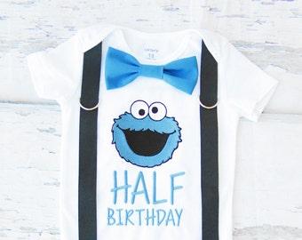 Boy half birthday birthday shirt Cookie Monster Bow tie Suspenders Add Parents' Shirts, Sesame Street Cake Smash Boy half birthday 6 months