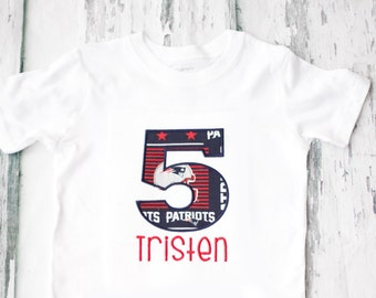 Boy 5th Birthday New England Patriots Themed shirt, Baby Girl five year old New England Patriots T-Shirt, Fifth Birthday NFL  Shirt