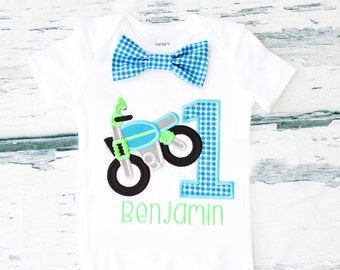 Baby boy first birthday Motorcycle themed cake smash outfit boy little dirt bike 1st birthday one year bow tie onesie  boy birthday shirt