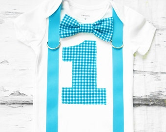 Baby Boy agua teal blue gingham Plaid first birthday Bow tie Number 1 First Birthday Boy Cake Smash Outfit Boy 1st Birthday suspenders tie
