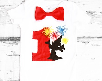 Baby first birthday Mickey Mouse Fireworks themed cake smash outfit boy Mickey Mouse 1st birthday one year bow tie onesie boy birthday shirt