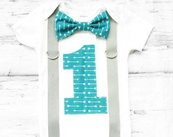 Teal aqua arrows first birthday suspender Boy First Birthday Boy Cake Smash Outfit Boy 1st Birthday tie Suspenders set Grey Bow tie set