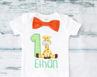 Baby boy first birthday Baby Giraffe themed cake smash outfit boy little giraffe 1st birthday one year bow tie onesie  boy birthday shirt