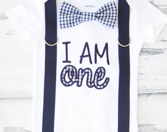 Baby boyI am one gingham navy first birthday onesie Navy gingham I am ONE boy one year outfit navy suspender bow tie plaid boy birthday