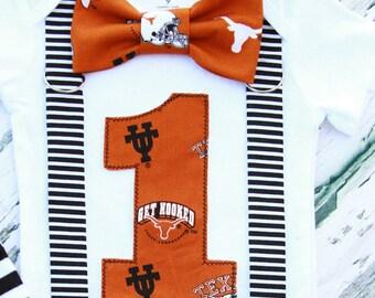 University of Texas Theme bow tie Suspender Hook em baby Boy Cake Smash Outfit, Boy first Birthday, UT Boy 1st birthday