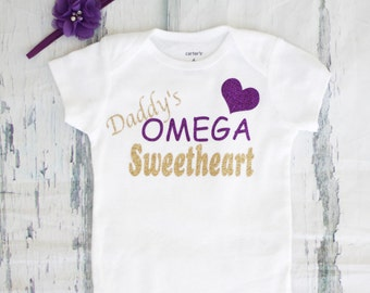 Daddy's Omega Sweetheart Omega Psi Phi Baby girl onesie Greek shirt Glitter Iron on Daddy's omega Sweetheart
