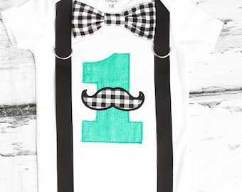 Baby Boy first birthday Mustache Bow tie and Suspenders set Teal Boy Cake Smash Boy first year outfit Boy number 1 Boy birthday, Boy Second