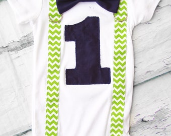 Baby boy Navy green number 1 with chevron suspenders with navy bow tie Baby boy navy and green first birthday cake smash outfit boy one