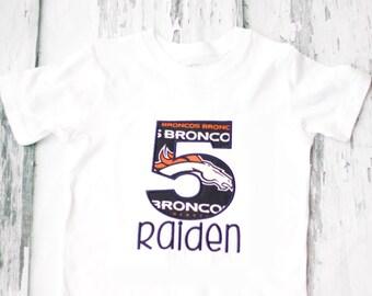 Boy 5th Birthday Denver Broncos Themed shirt, Baby Girl five year old Denver Broncos T-Shirt, Fifth Birthday Broncos NFL  Shirt