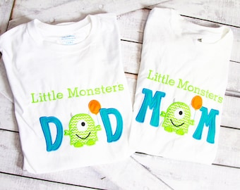 Little Monster's Mom and Dad matching shirts Parents shirts Family Shirts  Monster matching family shirts