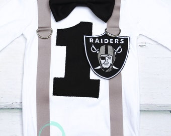 Oakland Raiders Theme, NFL Onesie, Bow tie and Suspenders set, Boy Cake Smash, Boy first year outfit, Boy number 1, Boy birthday, Boy Second