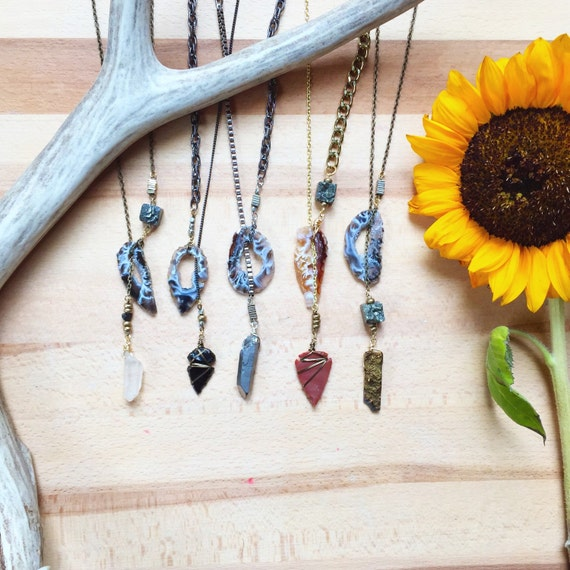 Up in Smoke Geode Lariat Necklace