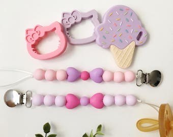 Silicone Pacifier Clip | Pacifier Clip | Soother Clip | Binky Clip | Dummy Clip | Teether Clip | Natural Clip | Teether | Baby Shower Gift