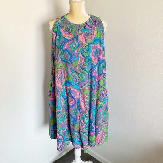 Vintage 60's Mod Terrycloth Paisley Dress Beach Po