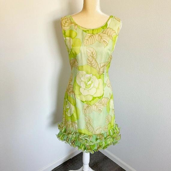 Vintage 60's Dress Floral Mod Go-Go Small