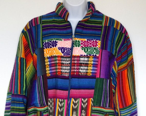 Vintage 80's 90's Womens Bomber Colorful Ethnic St