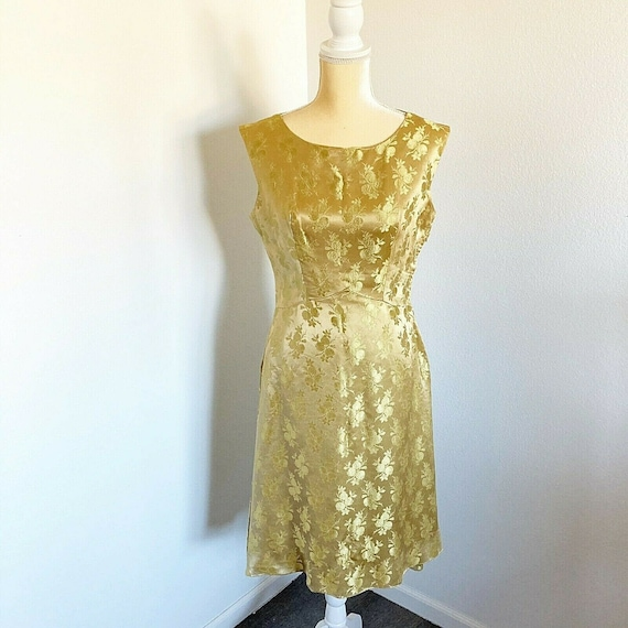 Vintage 60's Gold Satin Floral Dress Mod Retro Mid
