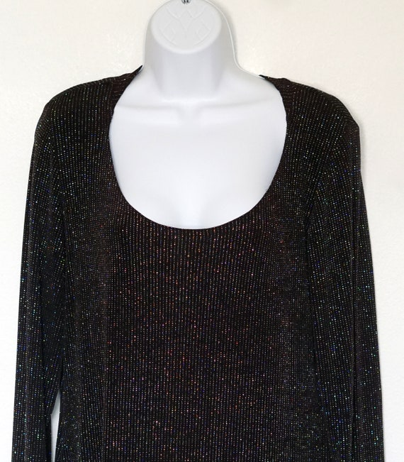 Amazing vintage 1970s 1980s black and gold Sparkle glitter metallic lurex roll high neck blouse.