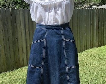 01ec6e55196 1950s western denim skirt sz M