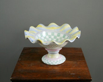 1996 MacKenzie Childs - Myrtle - Fluted Compote - Ceramic - Discontinued Pattern