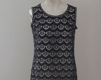 Black, White and Sparkly All Over - Scallops Lace and Rhinestone Detail Sheath Dress - Medium - Size 6 - 8