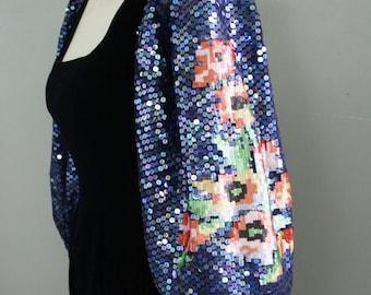 Fit for Royalty - Deep Purple Velvet - Rose sequined Puff Sleeves - Designer