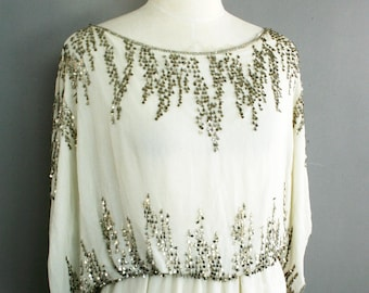 Silk - Metal Sequins - Fully Lined - Small -  Silk Blouse - Tunic - by Parker
