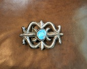 Turquoise - Sand Cast - Silver Belt buckle - Native American - Southwestern - Signed