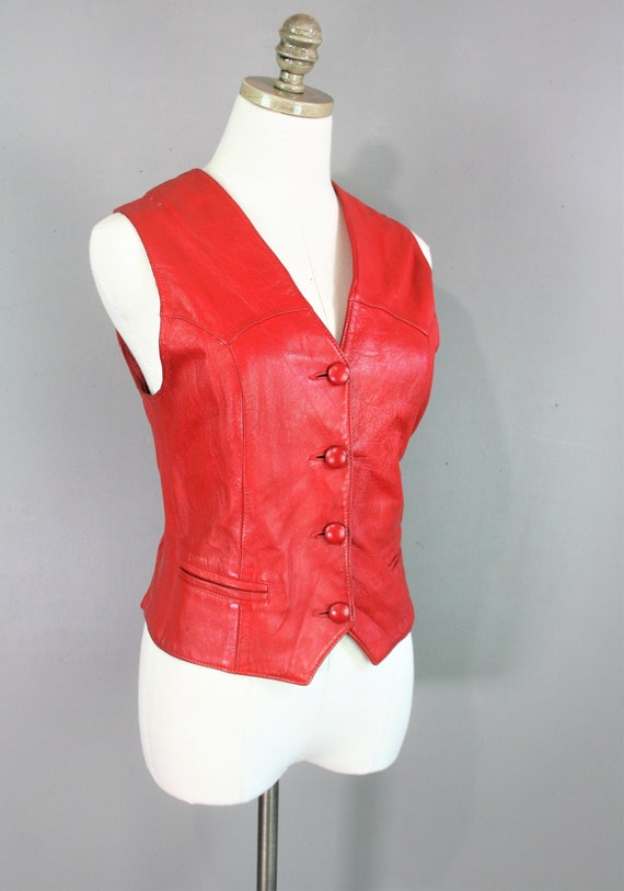 Western - Red Leather - Women's Vest - by G Fine L