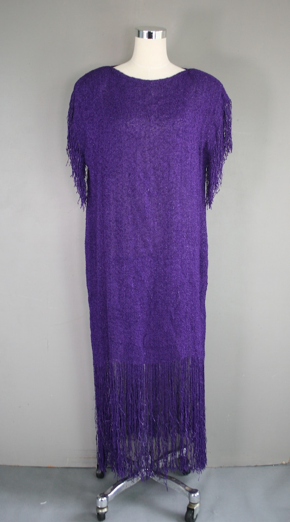 PANACHE - Purple - Cicra 1980s - Knit - Fringe Fri