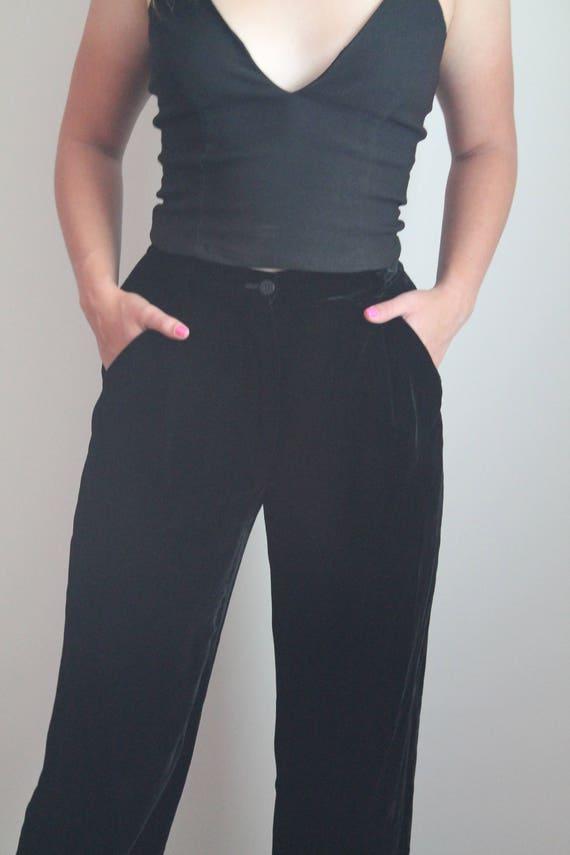 Giorgio Armani- Black Crushed Velvet Pants - Size